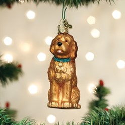 Sitting Doodle Old World Christmas Dog Ornament