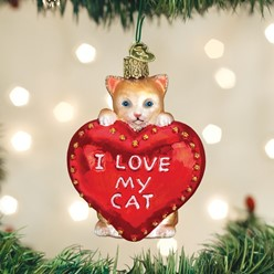 I Love My Cat Old World Christmas Ornament