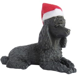 Black Poodle Sandicast Dog Christmas Ornament