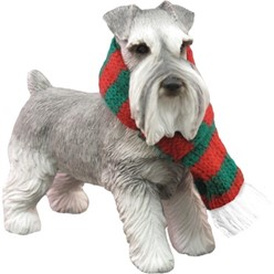 Gray Schnauzer Sandicast Dog Christmas Ornament
