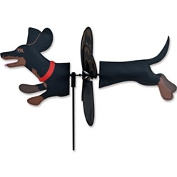 Black Dachshund Dog Garden Spinner