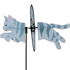 Gray Tabby Cat Garden Spinner