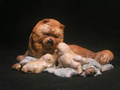 "Chow Chow Mother and Puppies ""Face of Love Family Time"" Ron Hevener Dog Figurine"