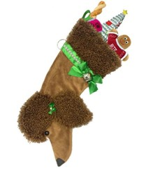 Brown Poodle Christmas Stocking