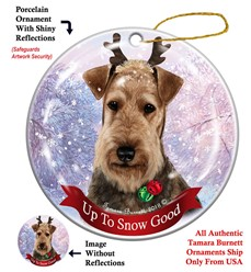 Airedale Up to Snow Good Dog Christmas Ornament