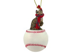 Brown Tabby Cat Sport Christmas Ornament