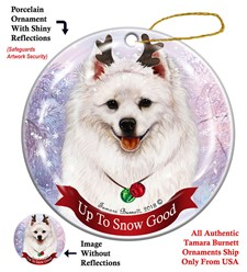 American Eskimo Up to Snow Good Christmas Ornament
