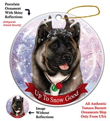 Akita Up to Snow Good Christmas Ornament- click for more breed colors