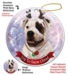 American Bulldog Up to Snow Good Christmas Ornament- Click for more breed colors