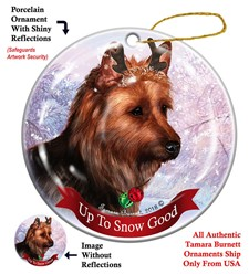 Australian Terrier Up to Snow Good Christmas Ornament