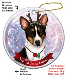 Basenji Up to Snow Good Dog Christmas Ornament- Click for more breed colors