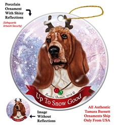 Basset Hound Up to Snow Good Christmas Ornament- click for more breed colors
