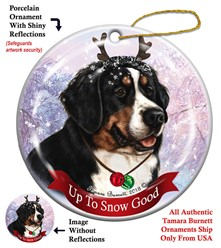 Bernese Mountain Dog Up to Snow Good Christmas Ornament
