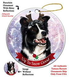 Border Collie Up To Snow Good Christmas Ornament