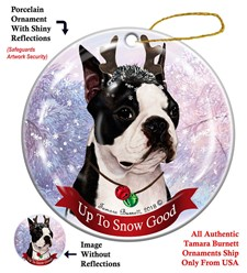 Boston Terrier Up To Snow Good Christmas Ornament