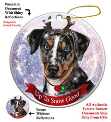 Catahoula Leopard Dog Up To Snow Good Christmas Ornament