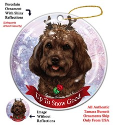 Cockapoo Up To Snow Good Christmas Ornament- click for more breed colors