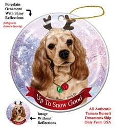 Cocker Spaniel Up To Snow Good Christmas Ornament- click for more breed colors