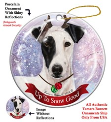 Fox Terrier Up To Snow Good Christmas Ornament- click for breed colors