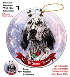 English Setter Up to Snow Good Christmas Ornament- click for more breed colors