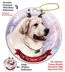 Great Pyrenees Up to Snow Good Christmas Ornament-