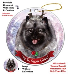 Keeshond  Up To Snow Good Christmas Ornament