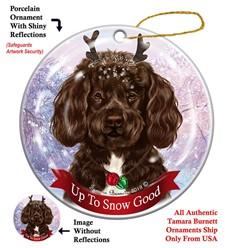 Portuguese Water Dog Up To Snow Good Christmas Ornament- click for more colors