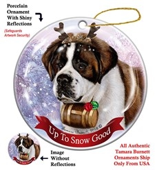Saint Bernard Up to Snow Good Christmas Ornament