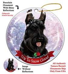 Scottish Terrier Up to Snow Good Christmas Ornament- click for breed colors