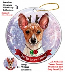 Toy Fox Terrier Up To Snow Good Christmas Ornament- click for breed colors