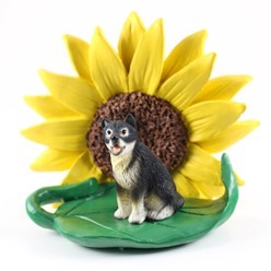 Alaskan Malamute Sunflower Dog Breed Figurine