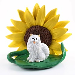 American Eskimo Miniature Sunflower Figurine