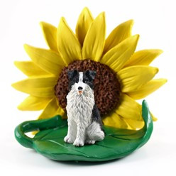 Border Collie Sunflower Figurine