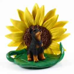 Doberman Pinscher Sunflower Dog Breed Figurine- click for breed options
