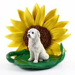 Great Pyrenees Sunflower Dog Breed Figurine