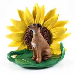 Italian Greyhound Sunflower Dog Breed Figurine