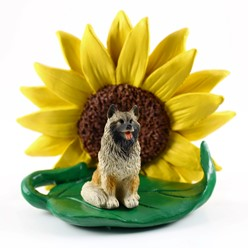 Keeshond Sunflower Dog Breed Figurine