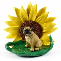 Pug Sunflower Dog Breed Figurine- click for more breed colors