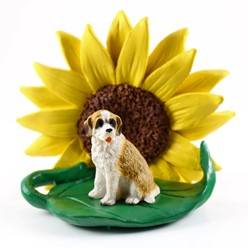 Saint Bernard Sunflower Dog Breed Figurine- click for more breed options
