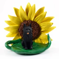 Schipperke Sunflower Dog Breed Figurine