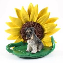 Schnauzer Sunflower Dog Breed Figurine - Click for more breed options