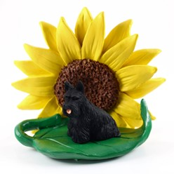 Scottish Terrier Sunflower Dog Breed Figurine