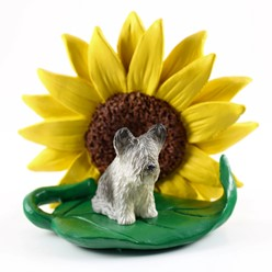 Skye Terrier Sunflower Dog Breed Figurine
