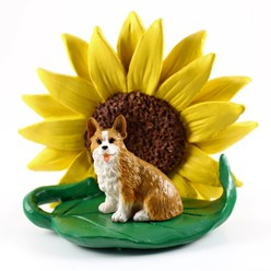 Welsh Corgi Pembroke  Sunflower Dog Breed Figurine