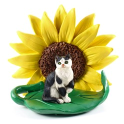 Black & White Short Haired Tabby Cat Sunflower Figurine