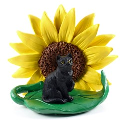Black Short Haired Tabby Cat Sunflower Figurine