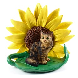 Maine Coon Sunflower Cat Figurine- click for more breed colors