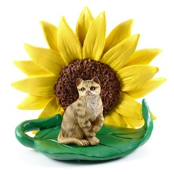 Brown Short Haired Tabby Cat Sunflower Figurine
