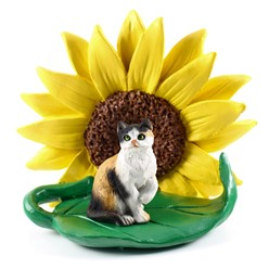 Calico Sunflower Cat Figurine