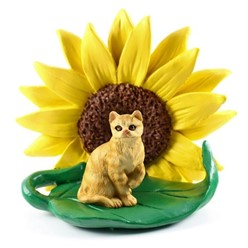 Red Short Haired Tabby Cat Sunflower Figurine